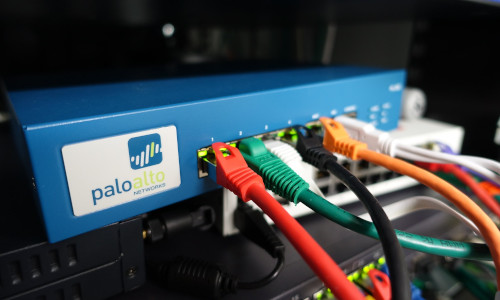 A Palo Alto Networks firewall appliance. Four new vulnerabilities were found in the operating system that powers such appliances.